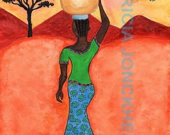 African woman carrying water under the Sun
