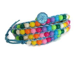 Womens Wrap Bracelet, Beaded jewelry, Bijouterie Bracelet, Beaded bracelet 4 strands, Strackable bracelet, Bracelet for women , Gift For Her