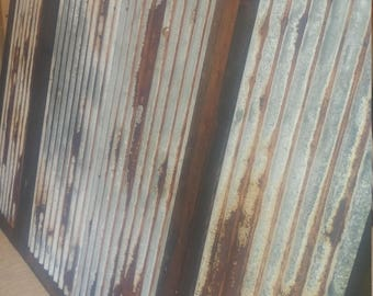 Custom Rusted Tin Panels Barn Corrugated Sheetmetal Sheets Steel Antique Vintage Weathered Aluminum R Panel Siding