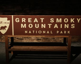 Great Smoky Mountains National Park Rustic Wood Sign Vintage Wall Decor
