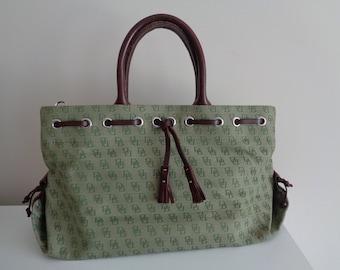 Vintage DOONEY BURKE Bag, Canvas Genuine Leather Bag, Green Brown Dooney Burke Bag