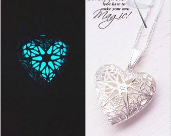 Frozen ice glowing heart necklace. Heart pendant necklace. Glow in the dark heart necklace jewellery