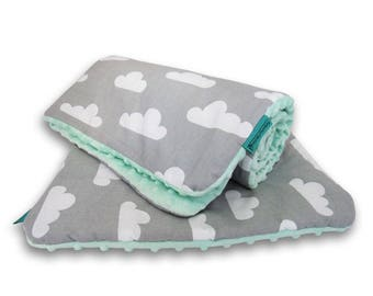 Nursery bedding set - quilt and pillow, Clouds bedding, Minky bedding set, Baby bedding set, Mint and grey baby bedding set, Modern bedding