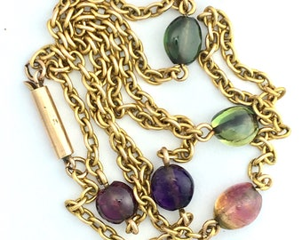 Antique Tourmaline and 9CT Gold Chain Link Necklace