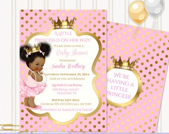 Little Royal Ballerina Princess Pink & Gold Crown Jewels | African American Vintage Baby Afro Puffs | Personalized Digital Invitation