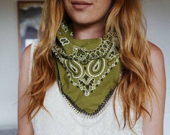 Olive Green Bandana with Silver Chain | Festival Style | Bandana Scarf Necklace | Best Seller | Boho Style | Trendy Accessory
