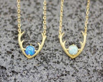 Antler, Elk Deer Stag, Antler statement necklace pointed with OPAL,Deer Necklace, Horn Necklace