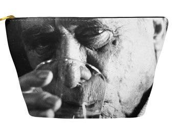 Charles Bukowski Zippered Pouch, Accessory bag, Makeup purse