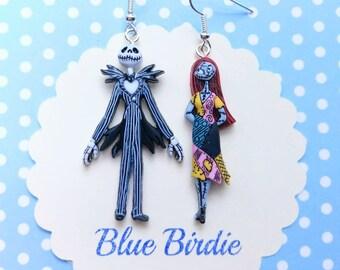 Sally and Jack skellington dangle earrings nightmare before Christmas earrings Disney jewelry jack and Sally dangle earrings Disney gifts