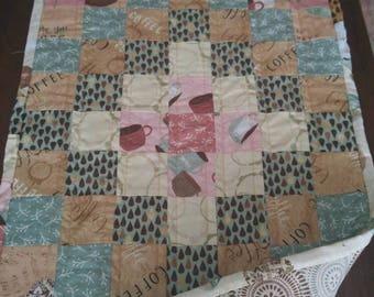 Quilted Table Runner, But First, Coffee! by Katie Doucette // Wilmington Prints// Topper, Table decor, Handmade, Centerpiece, Coffee Table