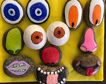 Story Stones --Funny Faces-- 12 Piece Set --Learning, Imagination & Play-- Painted Rocks