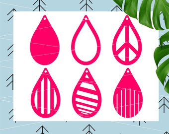 Tear drop with holes SVG Tear drop cut files Tear drop Earrings diy svg files for Cricut Silhouette svg cut file SVG Dxf Eps Png lfvs