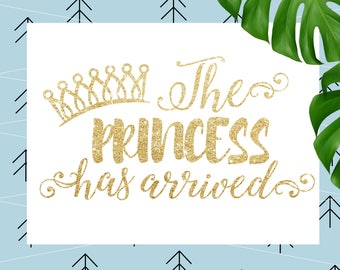 The Princess Has Arrived SVG Birthday girl SVG Baby svg Newborn SVG file for Cricut Silhouette cut file svg dxf eps png lfvs