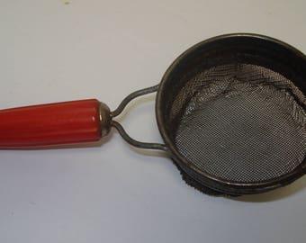 Androck Red Bakelite Bullet Handled Tea Strainer, FREE SHIPPING