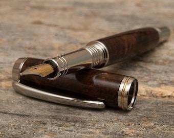 Wood Fountain Pen, Custom Fountain Pen, Valentines Gift for Men, Wood Pen, Walnut Burl, Wooden Pen, Hand Turned Pen, Gifts for Men