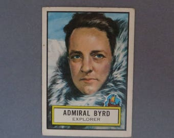 Vintage TOPPS Look 'n See Trading Card, Number 50, Admiral Byrd, Explorer, Historical Trading Cards