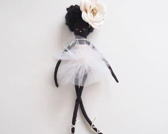 Handmade doll cloth doll heirloom doll textile doll black doll african american doll  ballerina doll girl gift daughter gift