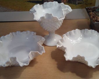 Fenton Hobnail Milk Glass bowls and candy dish