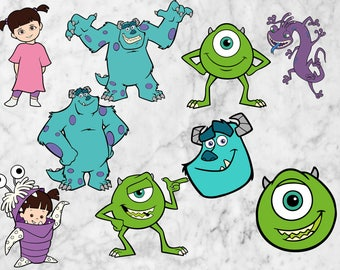 Monster Inc Svg, Monster Inc Cut files, clipart, eps, vectors files. Boo Svg Cutfiles, Sullivan svg, Mike cutfiles, Monster inc characters