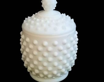 FREE SHIPPING  Hobnail Milkglass Honey Pot / Condiment Bowl with Lid