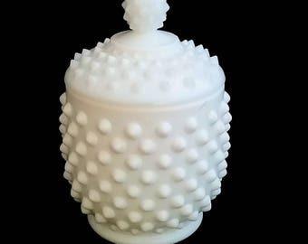 Hobnail Milkglass Honey Pot / Condiment Bowl with Lid