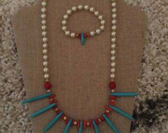 Set Neckless with Bracelet Red/ turquoises/  Pearls
