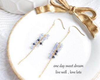 Natural Blue Tanzanite Sapphire 14k Rolled Gold Tassel Hoop Earrings