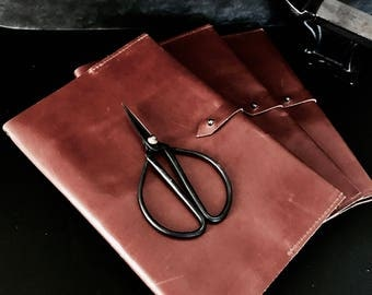 Classic vintage tan leather A5 diary notebook cover