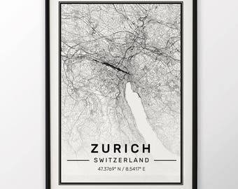 Zurich City Map Print, Modern Contemporary poster in sizes 50x70 fit for Ikea frame 19.5 x 27.5 All city available London, New York Paris