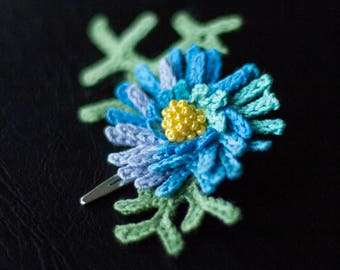 Blue flower Chrysanthemum hair clip-unique girls hair decorasions-sale-Hair accessories-Handmade-crochet flower.