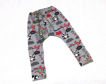 20% discount already applied-pants elastic cotton bears print legging panda, termination fist, handmade baby clothing, leggings