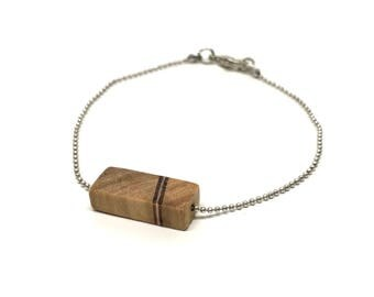 Bracelet made of Wood, Olive and Padoek, in Antique Silver or Gold