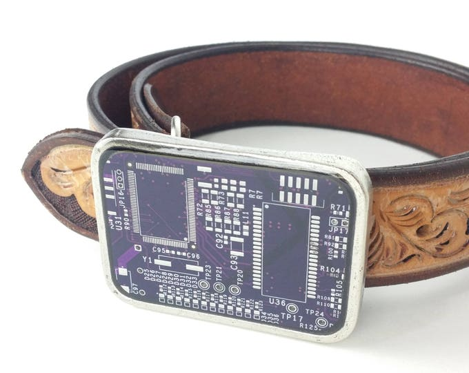 Purple and Silver Circuit Board Belt Buckle