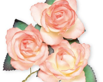 6 x Peach Mulberry Paper, Beautiful Large Rose Flowers With Wire Stem 45mm - Card Making Wedding Craft