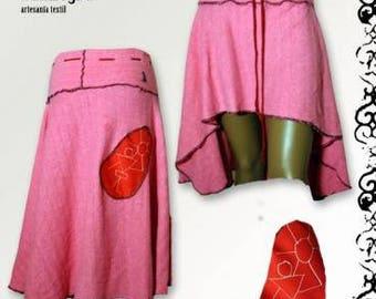 Handmade skirt skirt original and exclusive, longer back skirt overlay drawing, different skirt, ethics, natural cotton