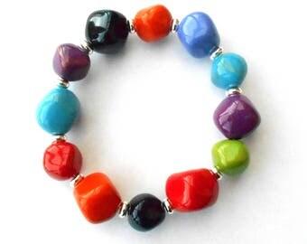 Multicoloured Kenyan Kazuri ceramic bead bracelet, fair trade, hand made and hand painted