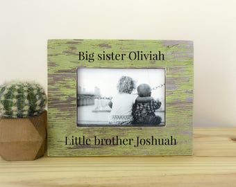 Personalized Big Sister Little Brother Frame. siblings frame. Nursery decor. Brothers picture frame. Sisters picture frame.