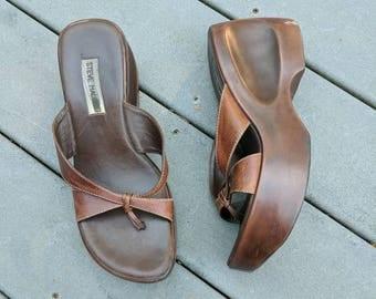Vintage 90's Wooden Platform Sandals, Size 8