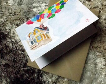 up // watercolor card // blank card // house with balloons // print