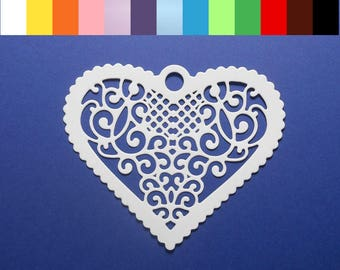 "Scallped Filigree Heart Die Cuts 3 1/4"" x 2 5/8"" Cardstock Paper Heart Embellishments, Scrapbooking, Card Making, Gift Wrap Accent 4 pc"