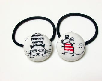 Handmade Kawaii White Black Japanese Mouse And Her Cat Animal Children Girl Fabric Button Ponytail Holder Elastic Hair Ties