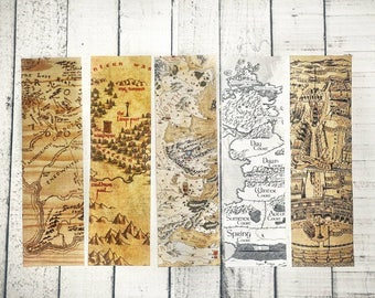 Mythical Maps Bookmark Collection, A Court of Thorns and Roses Bookmarks, Narnia Bookmarks, ACOTAR, Fantasy Maps, Game of Thrones Map