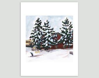 Evergreens Under Fresh Snow – Fine Art Print of Original Painting