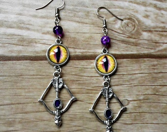 earrings dark archer evil bow arrow cameo eyes yellow purple crystal silver archery hunter forest elf wicca fantasy magic witch witchy