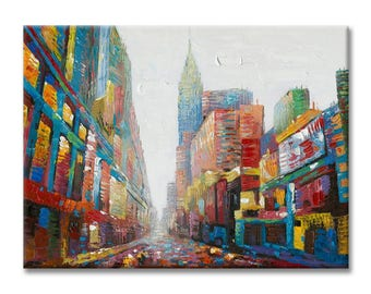 3D Oil Painting Hand-painted Cityscape Painting Artwork for Home Decor scenery Paintings Wall Art on Canvas Framed Stretched Ready to Hang