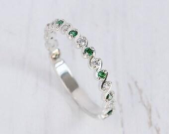 Emerald Wedding Band Ring Women Silver Eternity