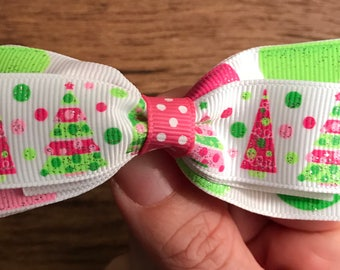 Pink and green glitter Christmas bow