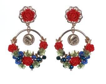 Blue Red Earrings, Blue Red Earrings,Navy Blue Ruby Red Earrings,Swarovski Earrings,Wedding Jewelry,Bridesmaids Royal Blue Red Earrings