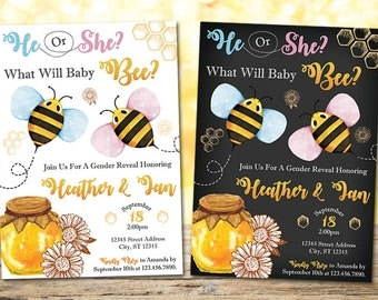 Bee Gender Reveal Invitation, Gender Reveal Invitation, Bee Baby Shower Invitation, Personalized Printable Digital What Will Baby Be Invite