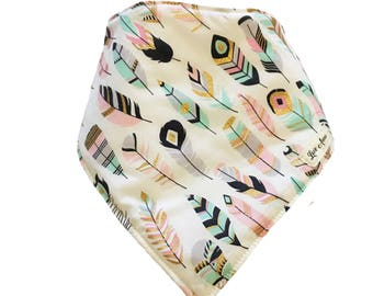 BABY BANDANNA BIB - colours • of • the • wind ~ white, pink, mint & gold